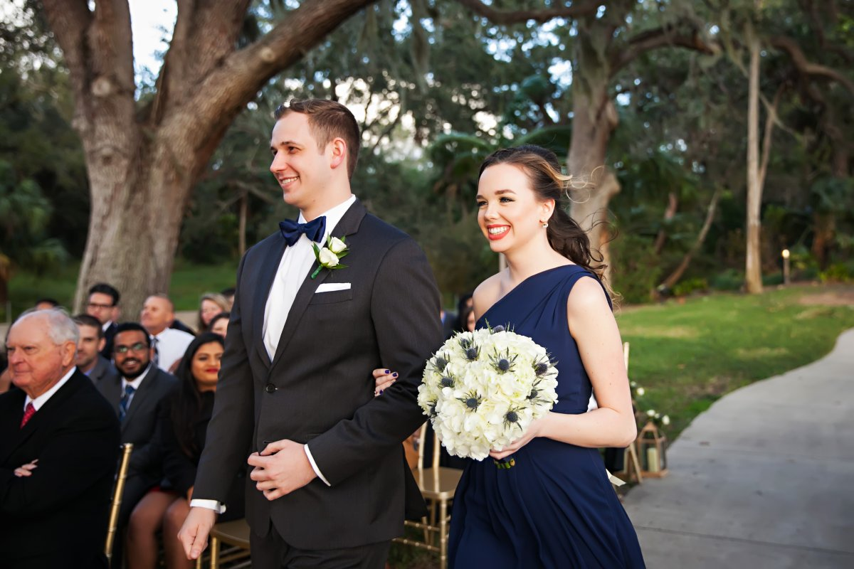 Maid of Honor with Hydrangea and Blue Thistle Bouquet