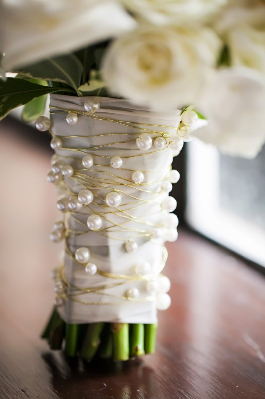 Pearl Treatment on Handle of Bridal Bouquet
