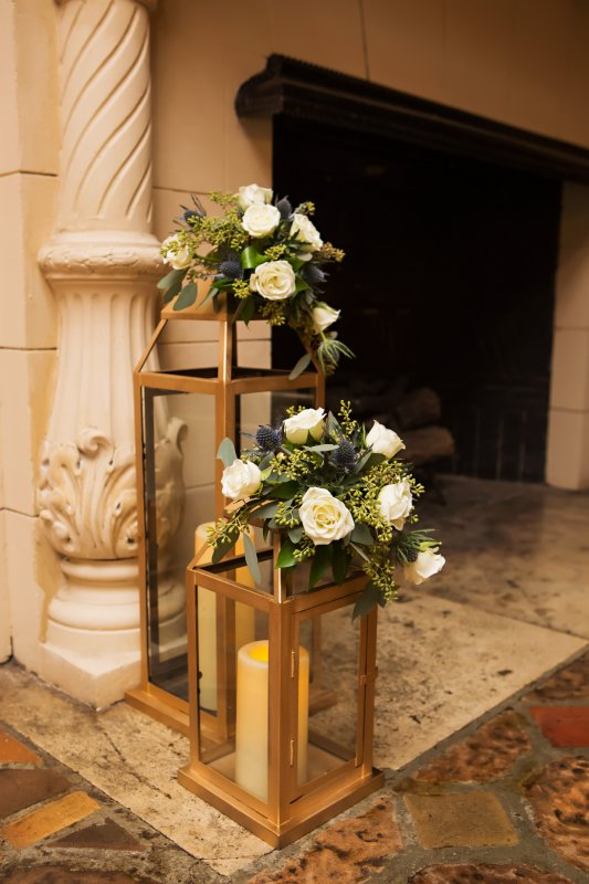 Repurposed Back of Aisle Lanterns to the Loggia Reception Site