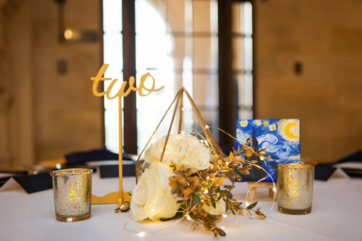 Gold Terrarium with Fairy Lights and Starry Night Picture and Roses