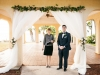 Arch with Tied Back Sheers and Roses at Pavillion Powel Crosley Estate