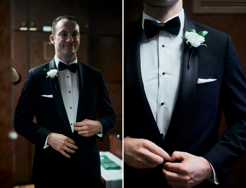 Groom with Ranunculus and Greens Boutonniere