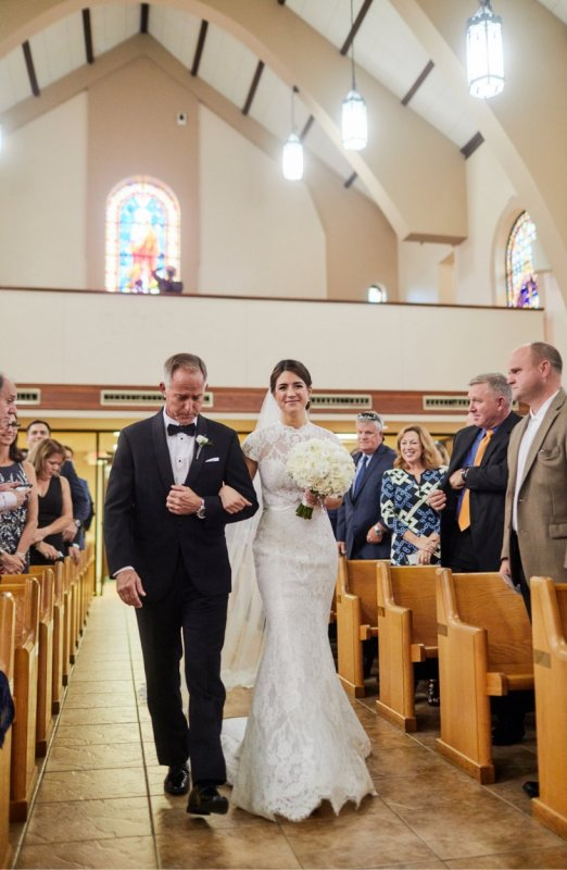 Bride and Father Walking Down Aisle at St. Martha's Church