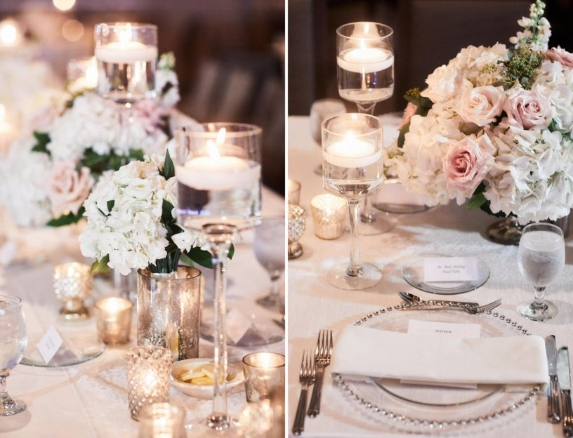 Guest Table Centerpiece in Footed Glass Bowls with Hydrangeas and Blush Roses