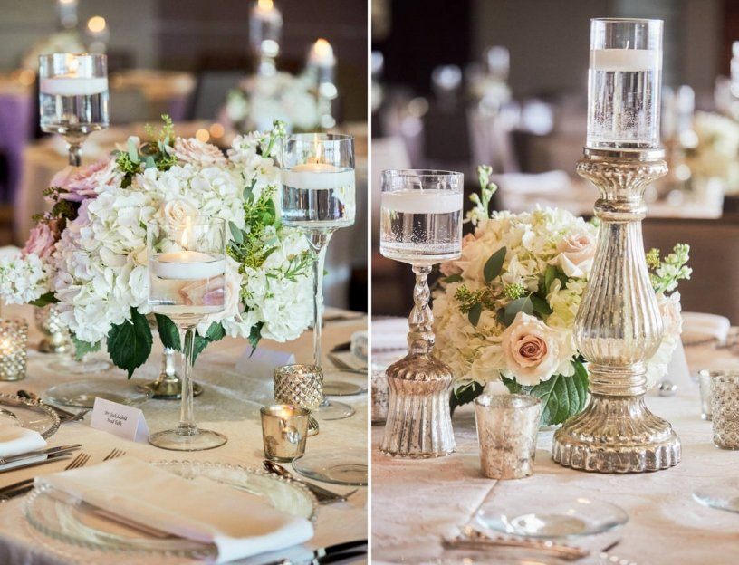 Guest Table Centerpieces in Footed Bowls with Floating Candles