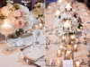 Guest Tables with Pedestal Arrangements in Blush and Cream with Lots of Candles