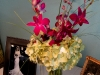 Arrangement of hydrangea-and-purple-orchids