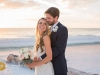 Bride and Groom with Bridal Bouquet on Beach