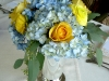 Julep Cup with blue hydranea and yellow roses rannuculus