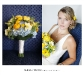 yellow-and-white-and-blue bridal bouqeut