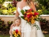 Bride and Daughter with Tropical Bouquets on Ritz Carlton Lawn