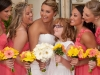 yellow-and-coral-gerbera-daisy-bridesmaids-bouquet