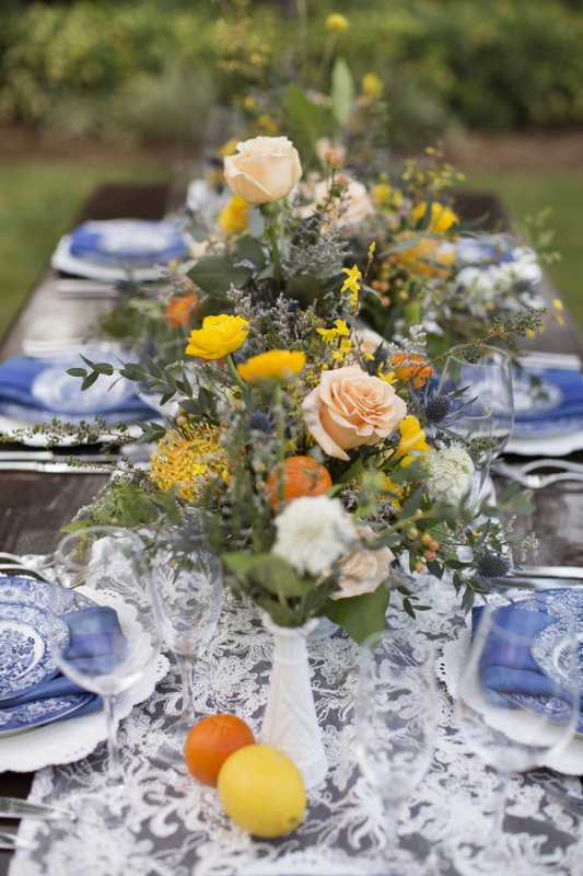 Vintage with Modern Twist Floral Centerpieces for Feasting Table on Lace Runner