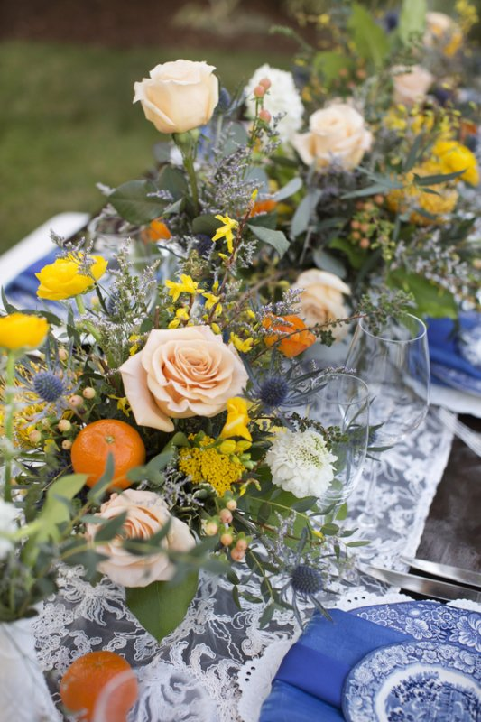 Close-Up of Vintage with Modern Touch Floral Centerpiece on Feasting Table