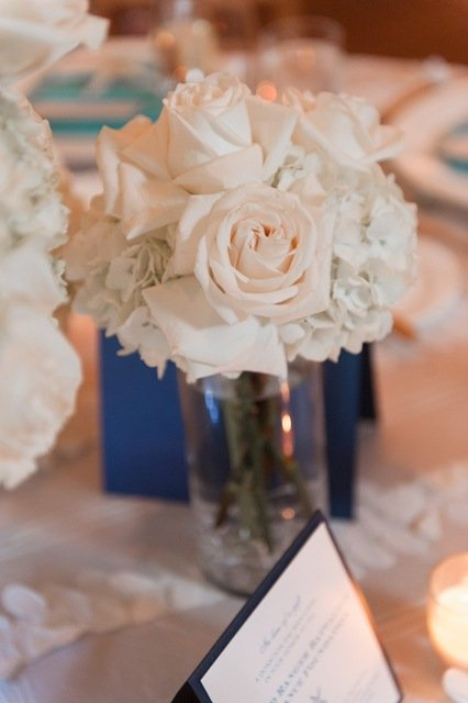 White hydrangea and roses