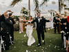 All White Petal Toss after Wedding Ceremony