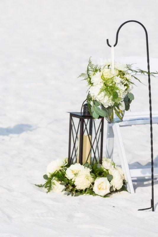 Aisle Decor- Lanterns with Florals and Pompadour Balls on Shepherd Hooks