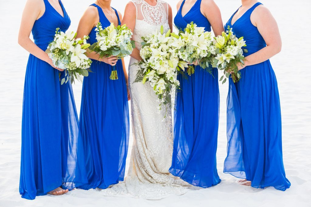 Bride's Gorgeous Trailing Bouquet and Bridesmaids' Hand-Tied Garden Bouquet with Lots of Greenery